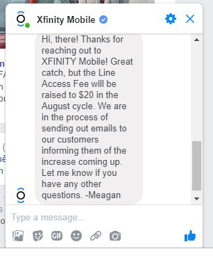 Xfinity Mobile line access fee increasing to $20