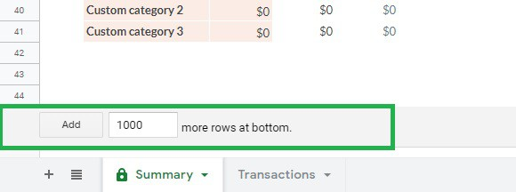 Add 1000 rows to Google Sheets budget template