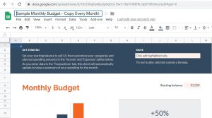 """Google Sheets, select """"Monthly budget"""" and rename the spreadsheet """"Sample Monthly Budget."""""""