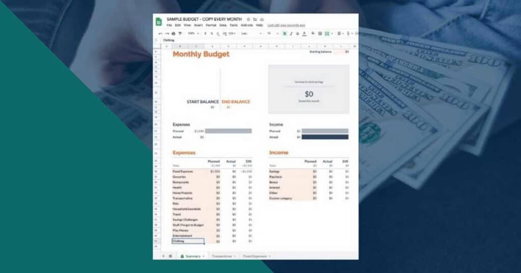 Google Sheets Monthly Budget Template Tutorial