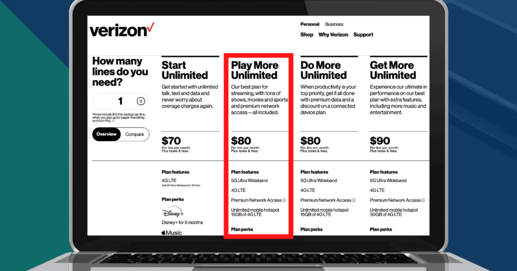 Verizon's unlimited plans, including Play More for $80/month with autopay