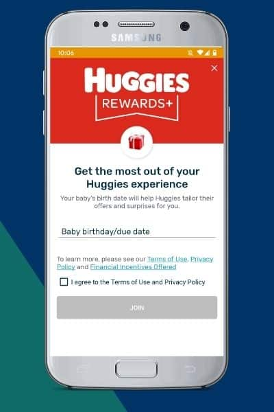 Opt-in to Huggies Rewards+ by entering a baby birthday/due date and agreeing to the Terms of Use and Privacy Policy