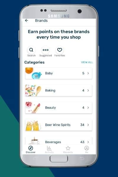 Fetch Rewards list of brands with Baby at the top